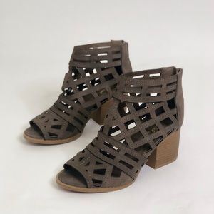 Qupid Laser Cut Exposed Peep Toe Caged Ankle Boots